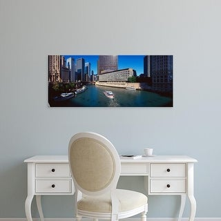Easy Art Prints Panoramic Images's 'Panoramic view of Chicago River, Chicago, IL' Premium Canvas Art