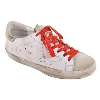 Golden Goose Mens White Leather Red Lace Superstar Sneakers