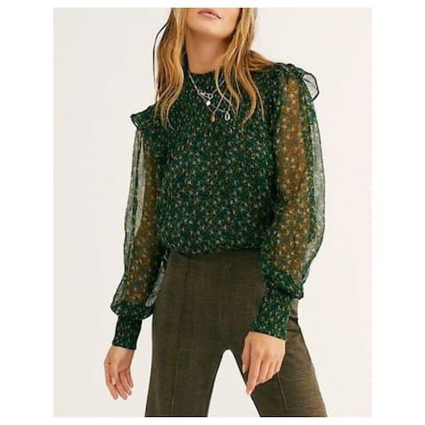 FREE PEOPLE Womens Green Printed Long Sleeve Peplum Top Size S