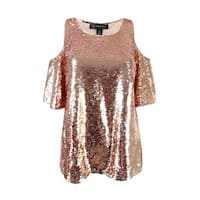 INC International Concepts Women's Sequined Top - shimmer rose gold
