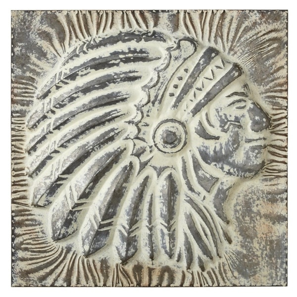 "4a08a336d Shop Set of 2 Galvanized Embossed Metal Native American Headdress Wall Art  17.25"" - Off-White - Free Shipping Today - Overstock - 21118293"