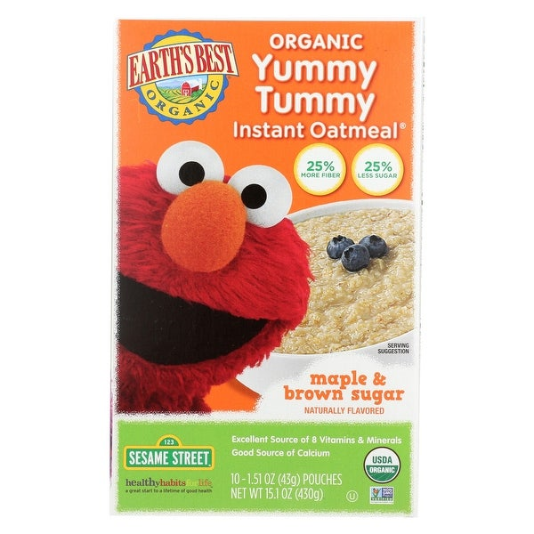 Earth's Best Sesame Street Maple and Brown Sugar Organic Yummy Tummy Instant Oatmeal - Case of 12 - 15.1 oz.