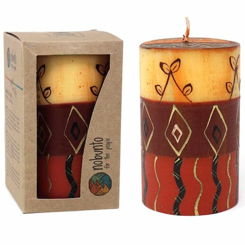 Handmade Pillar Candle with Bongazi Design (South Africa)