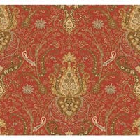 York Wallcoverings WA7719 Waverly Classics Byzance Wallpaper - tomato/buff/amber/cinnamon/beige/olive - N/A