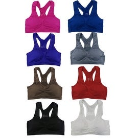 Women 6 Pack Seamless Mesh Out Floral Jacquard Print Matching Sports Bras