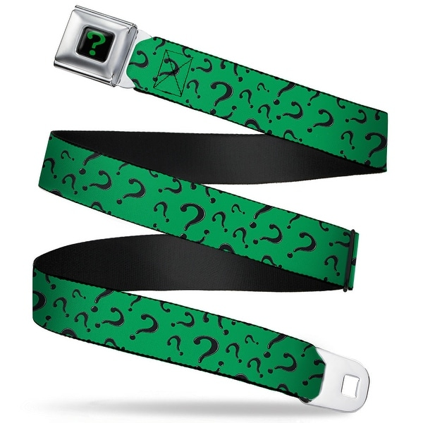 "Riddler ""?"" Black Green Question Mark Scattered3 Dark Green Black Webbing Seatbelt Belt"