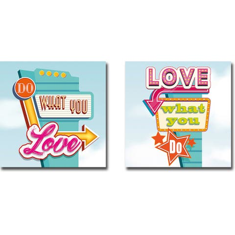 Do What You Love & Love What You Do by Steven Hill 2-pc Gallery Wrapped Canvas Giclee Set (18 in x 18 in Each Canvas in Set)