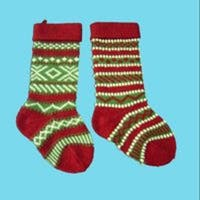 Club Pack of 12 Heavy Yarn Red and Green Christmas Stockings - multi