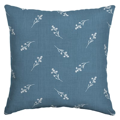Arden Selections Blue Ditsy Floral Outdoor 16 x 16 in. Square Pillow - 16 in L x 16 in W x 5 in H