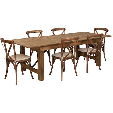 """8' x 40"""" Rustic Folding Farm Table Set with 6 Cross Back Chairs and Cushions"""