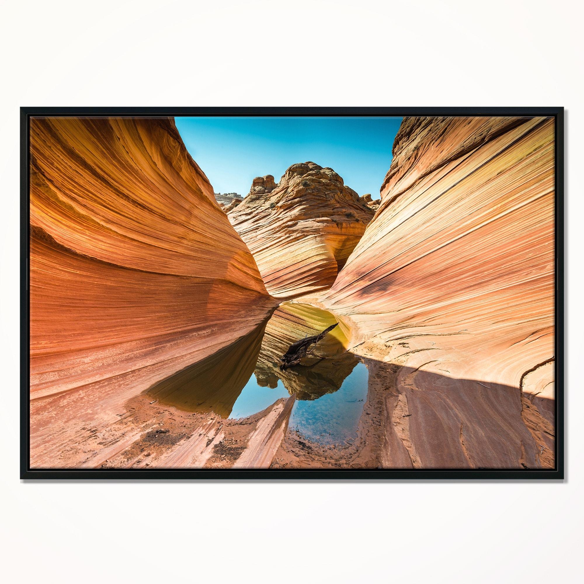 Designart Water Inside Arizona Wave Landscape Photography Framed Canvas Print Overstock 18952756