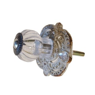 Grey Pewter Knob with Rhinestones Drawer Pull or Wall Hook Distressed Finish
