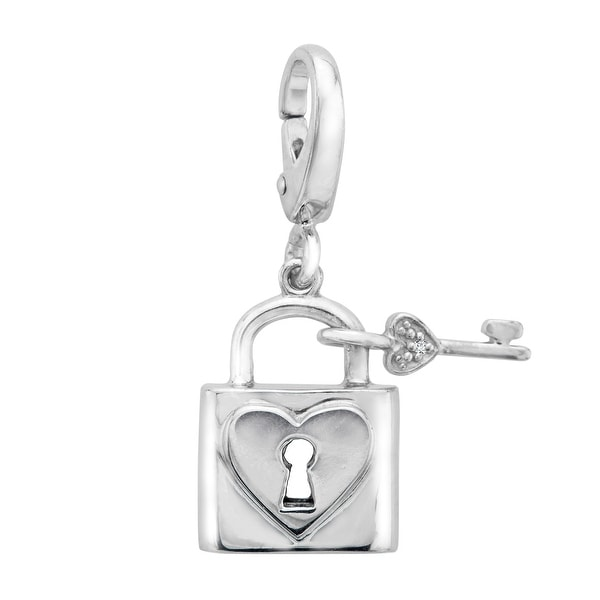 Heart Lock Charm with Diamond in Sterling Silver