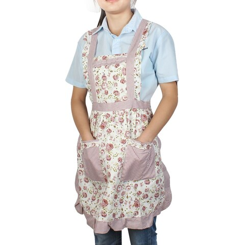 Unique Bargains Housewares Cooking Light Purple Rose Pattern Dual Pocket Self Tie Bib Aprons