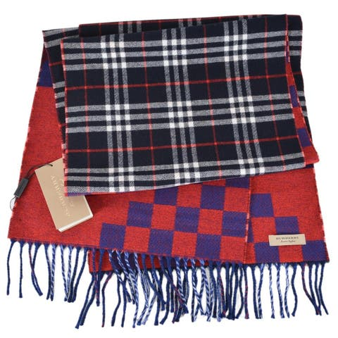 "Burberry Reversible Graphic and Nova Check Wool Cashmere Scarf Muffler - 70.9"" x 11.8"""