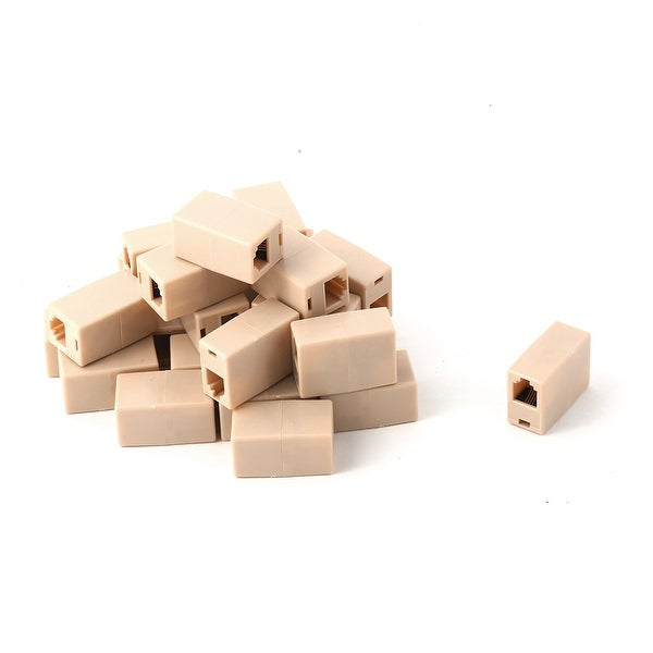 Plastic RJ45 8P4C Telephone Line Adapter Connector Coupler Beige 25pcs