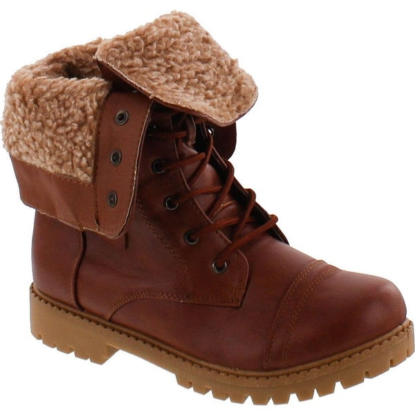 Anna Bella Marie Dallas-11 Womens Fur-Lined Foldable Cuff Lace Up Mid-Calf Combat Boots - tan_serrated sole
