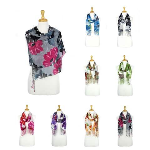 Women's Fashion Floral Soft Wraps Scarves - F2 Purple - Large