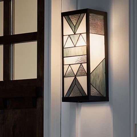 """River of Goods Grey Stained Glass and Black Satin Rectangular 1-Light Outdoor Wall Sconce - 6.25"""" x 5.5"""" x 16.25"""""""