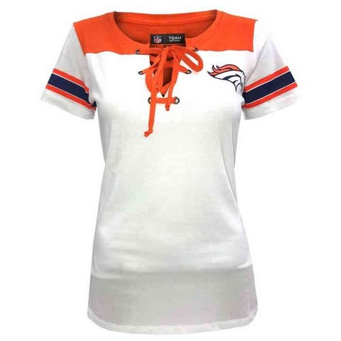 New Era Womens NFL Denver Broncos Lace-Up Tee T-Shirt Stripe Sleeve C40061L