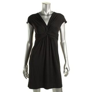 Studio M Womens Gabriel Casual Dress Knot-Front Cap Sleeves