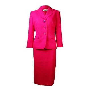 Le Suit Women's The Hamptons Jacquard Skirt Suit - deep rose