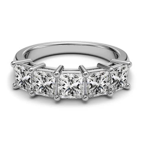 14K White Gold 2.00 CT Princess Diamond 5-Stone Prong Wedding Band