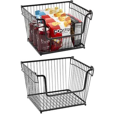 Farmhouse Scoop Storage Bin Wire Baskets w/ Handle Stackable Organizer
