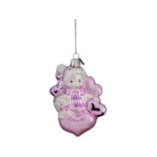 """3.5"""" Pink and White """"Baby's 1st Christmas"""" Snowman Hand Blown Glass Ornament"""
