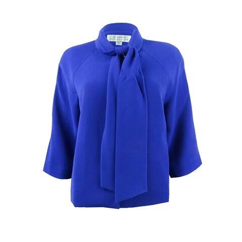 Tahari ASL Women's Tie-Neck Swing Jacket (8, Cobalt) - Cobalt - 8