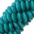 Smooth Painted Maple Wood Beads, Rondelle 7.5-8mm, 16 Inch Strand, Teal Blue - Thumbnail 0