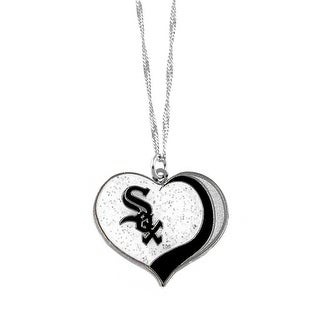 Chicago White Sox  MLB Glitter Heart Necklace Charm Gift