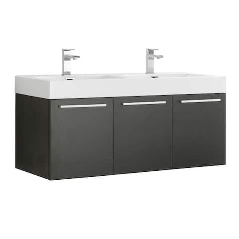 "Fresca Vista 48"" Black Wall Hung Double Sink Modern Bathroom Cabinet"