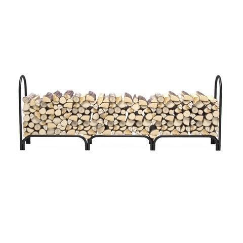 Regal Flame 8 Foot Heavy Duty Deluxe Steel Indoor Outdoor Firewood Log Rack Holder - Black