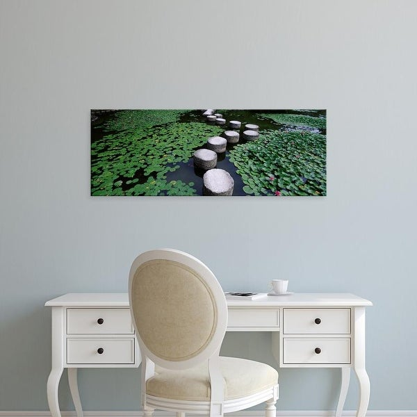 Easy Art Prints Panoramic Images's 'Water Lilies In A Pond, Helan Shrine, Kyoto, Japan' Premium Canvas Art