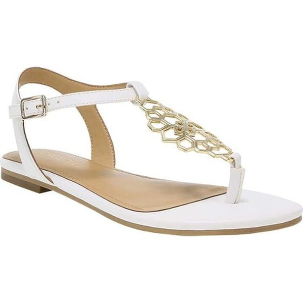 2b8c0743e Shop Aerosoles Women s Short Stack Flat Sandal White Faux Leather ...