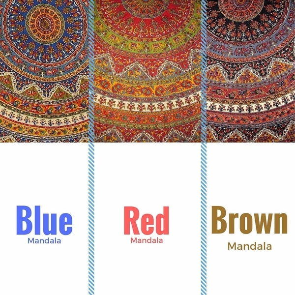 "Handmade Mandala Floral and Elephant Printed Cotton Tablecloth available in Red Blue & Brown in two sizes 76"" Round & 90"" Round"