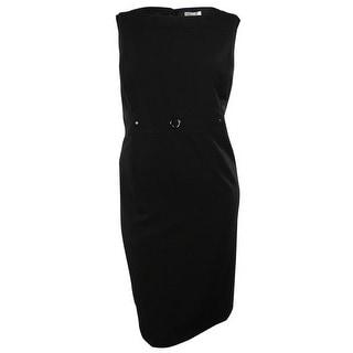 Tahari Women's Sleeveless Solid Sheath Dress (18W, Black) - 18W