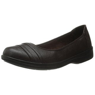 Easy Street Womens Measure Leather Round Toe Ballet Flats