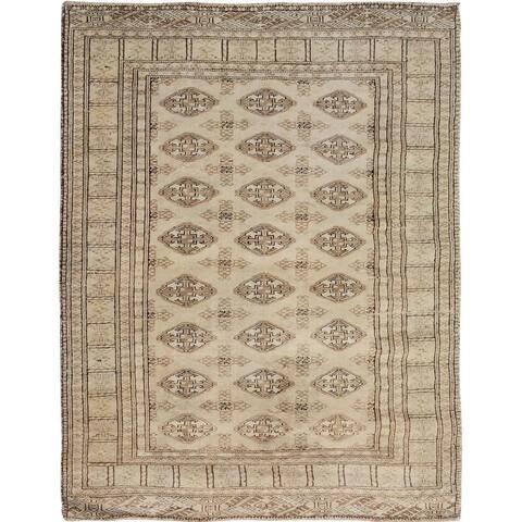 "Beige Washed Out Turkoman Bokara Worn Down Handmade Rug(3'10""x4'7"") - 3'10"" x 4'7"""
