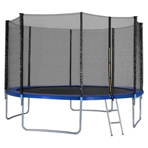 New 12FT Trampoline Combo Bounce Jump Safety Enclosure Net w//Spring Pad Ladder