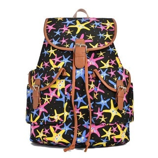 Hearty Trendy Girls Women Black Star Fish Print Exterior Pockets Backpack