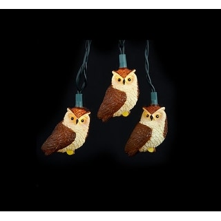 Set of 10 Brown Owl Bird Novelty Christmas Lights - Green Wire
