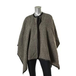 Lauren Ralph Lauren Womens Petites Open Front Faux Leather Trim Poncho Sweater