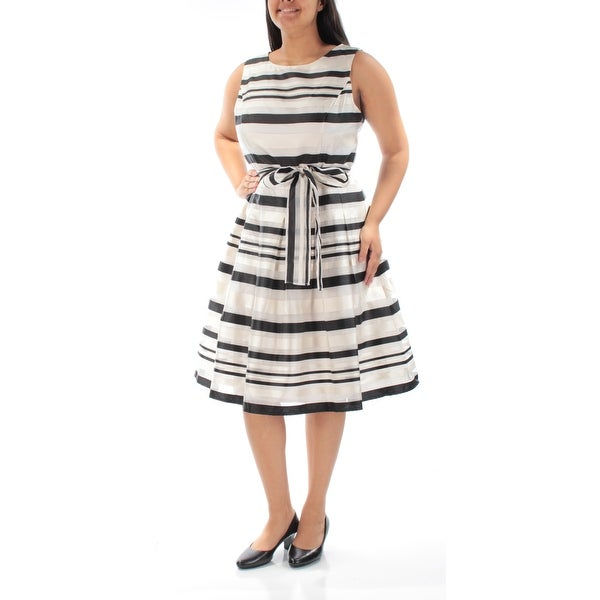 a4f8a0f8beb Shop TOMMY HILFIGER Womens Ivory Satin Striped Sleeveless Jewel Neck Below  The Knee Fit + Flare Cocktail Dress Size: 2 - Free Shipping On Orders Over  $45 ...