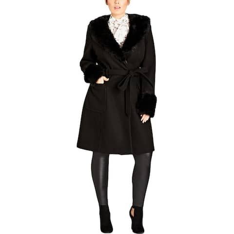 City Chic Womens Plus Make Me Blush Wrap Coat Winter Knee-Length