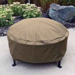 Sunnydaze Durable Round Fire Pit Cover- Long-Lasting PVC - Khaki - 60-Inch