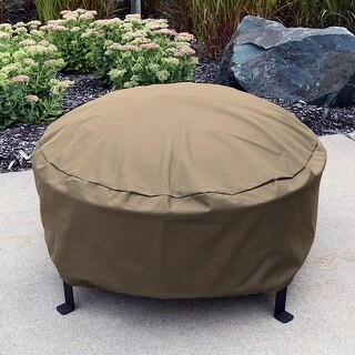 Sunnydaze Durable Weather-Resistant Round Fire Pit Cover - Khaki - 40-Inch