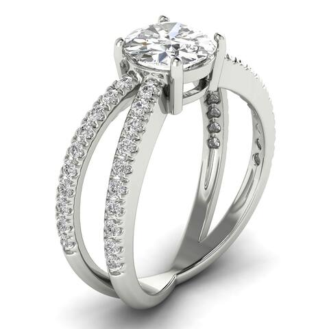 1.40 CT Split Shank Round Diamond Engagement Ring 1.00 CT Center 14KT