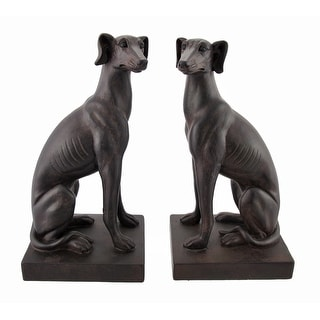 Pair of Greyhound Dog Bookends Antique Bronze Finish